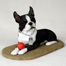 Boston Terrier My Dog Figurine / Statue ~ Hand Painted Cold Cast Stone Resin