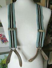 Vintage 1940's Button On Blue Stripped Elastic & Leather Adjustable Braces