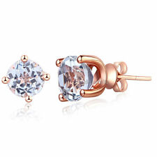 Solid 14K Rose Gold Stud 2.5 Ct Natural Clear Topaz Earrings