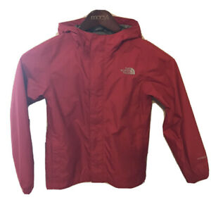 Boys Red North Face Dryvent Waterproof Rain Jacket Coat Windbreaker Small 7/8