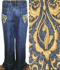 BABY PHAT Denim CAT Rhinestone Buckle Leg  Capri Jeans PLUS SIZE 24 *