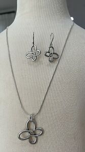 Retired James Avery Sterling 925 Connected Hearts Butterfly Pendant, Earring Set