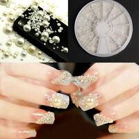 Fashion 3D White Nail Art Tips Pearl Acrylic Gem Glitter Manicure DIY Decoration