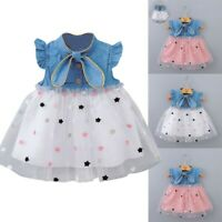 Newborn  Baby Girls Kids Dresses Princess Gauze Star Denim Dress Outfits Clothes