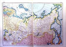 Vintage Antique Original 1920 Print Map Of Northern Asia