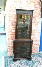 New listing English Mahogany Wood Corner Cabinet With 2 Glass Door