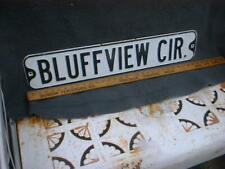 Bluffview Dr    Vintage Street Sign Embossed 30 x 6 Black & White HEAVY