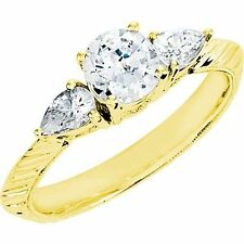 1.01 ct Round & Pear Diamond Engagement Solitaire Ring 14k Yellow Gold 1.33 tcw