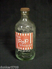 ONE THE POP SHOPPE GLASS SODA BOTTLE EMPTY WITH METAL CAP