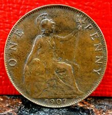 Beautiful High Grade 1907 King Edward Penny from Great Britain KM# 794.2