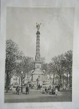 LITHOGRAPHIE 19ème PARIS DANS SA SPLENDEUR FONTAINE PLACE DU CHATELET