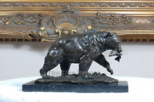 Bronze statue Bear Catching Fish Bronze Sculpture, Signed:Milo