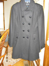 NWT Women's Via Spiga Classy Black Wool Knee Length Double Breasted Coat Size 4
