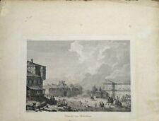 """Eau forte de C.N VARIN, """"Palais de l'Aga d'Eski-Hissar"""" Turquie"""