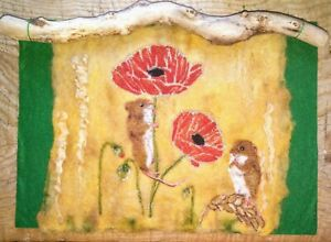 Poppies and Harvest Mice - Needle Felted Painting