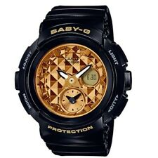Casio Baby-G BGA-195M-1A Black Gold Round Series Analog Digital Womens Watch