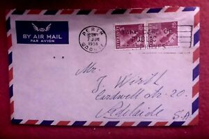 1958 AIRMAIL OSTALLY USED  MAIL COVER PERTH TAKE CARE OF PUBLIC PHONES CANCEL