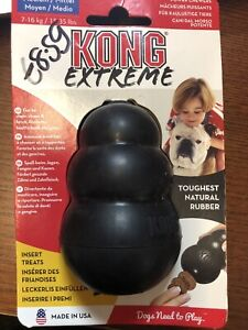 KONG Extreme Medium Rubber Chew Toy Treat Dispenser Black For Dogs Puppies New