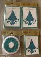 Lot Of 4 Hallmark Vintage Holiday Invite Christmas Cards Bridge Tally Invitation