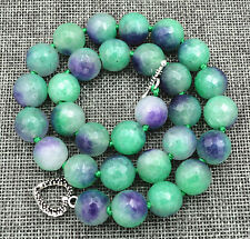 "New 14mm Brazil faceted lavenderjade Necklace 18"" Tibetan silver love clasps"