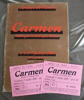 Carmen, Bizet - Programme illustré et 2 tickets - 1989 - Arènes de Nîmes