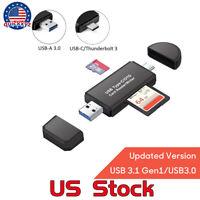 Super Speed USB 3.0 SD Card Reader Writer Data Type C Micro OTG Adapter Small US