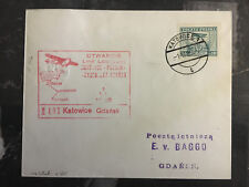 1929 Katowice to  gdansk Poland Airmail First Flight Cover FFC 150 Flown