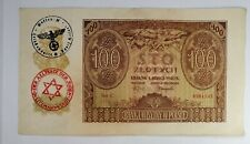 More details for poland. genuine occupation currency note 100 zloty 1940, litzmannstadt ghetto