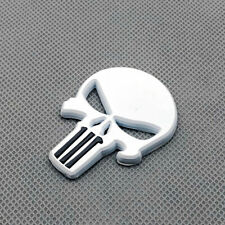 Car Body White Metal Punisher Skull Side Emblem Rear Lid Trunk Badge 3D Sticker