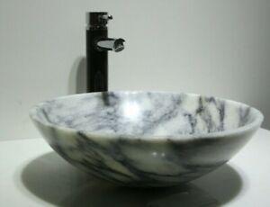 LUXURY BATHROOM WHITE GREY MARBLE STONE ROUND BASIN SINK WASH BOWL gloss grain