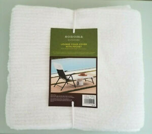 """Outdoor Lounge Chair Cover With Pocket by Sonoma Outdoors 27"""" x 80"""" 100% Cotton"""