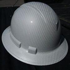 FULL BRIM Hard Hat custom hydro dipped , NEW WHITE CARBON FIBER  HOT NEW HYDRO