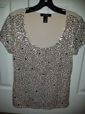 WHITE HOUSE BLACK MARKET, women's beige short sleeve sequin top ,blouse,shirt,sm