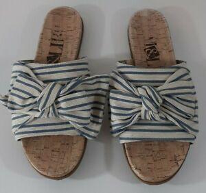 Sam & Libby Womens Sandals Size 9 Bow Slides Blue White Stripe