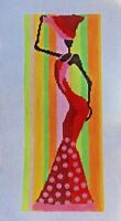 Handpainted Needlepoint Canvas African Woman in Red Pajamas & Chocolate PATT114