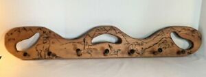 Vintage Hand Crafted Wooden Wall Hanging Coat Rack
