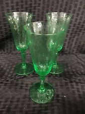 Vintage Swirled Diamond Optic Crystal with Green Stem Wine Glasses, Set of 3