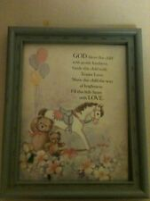 Vintage Home Interior God Bless This Child Framed Saying Boys Blue sign/plaque