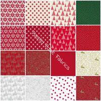 Christmas Fat Quarters, Jelly Rolls Bundle 100% Cotton Fabric - Craft, Patchwork