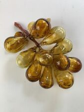 Vintage Murano? Italian? Amber Colored Blown Glass Grapes with Leaves