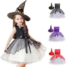 Girls Tutu Witch Costume w/ Hat Wicked Halloween Fancy Dress Toddler Kids Outfit