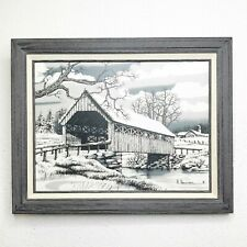 H Hargrove Signed Lithograph Black and White Canvas Print Covered Wooden Bridge