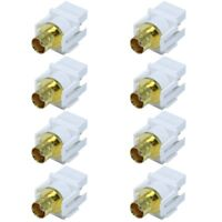 8 Pcs BNC Video Coax Connector Coupler Keystone Jack For Wall Plate CCTV White