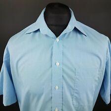 Daniel Hechter Mens Shirt 40 (MEDIUM) Short Sleeve Blue Regular Fit Check Cotton