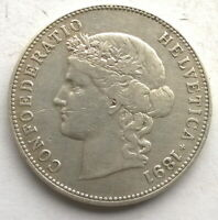Switzerland 1891(B) Confederation Girl 5 Francs Thaler Silver Coin
