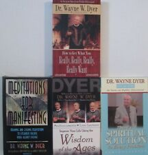 4 Dr. Wayne Dyer Cassettes -- Spiritual Solution, Wisdom, Mediations, Really