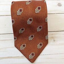 Ermenegildo Zegna Tie Mens Orange 100% Silk Made In Italy Orange Necktie