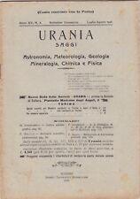 Urania, rivista, 1926, anno XV n. 4, astronomia, mineralogia, chimica, fisica