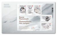 2021 Canada Snow Mammals First Day Cover Ermine Hare Fox Caribou Lemming FDC