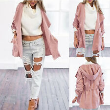Pink Jacket Trench Women Warm Hooded parka Long coat Outwear Fashion Windbreaker